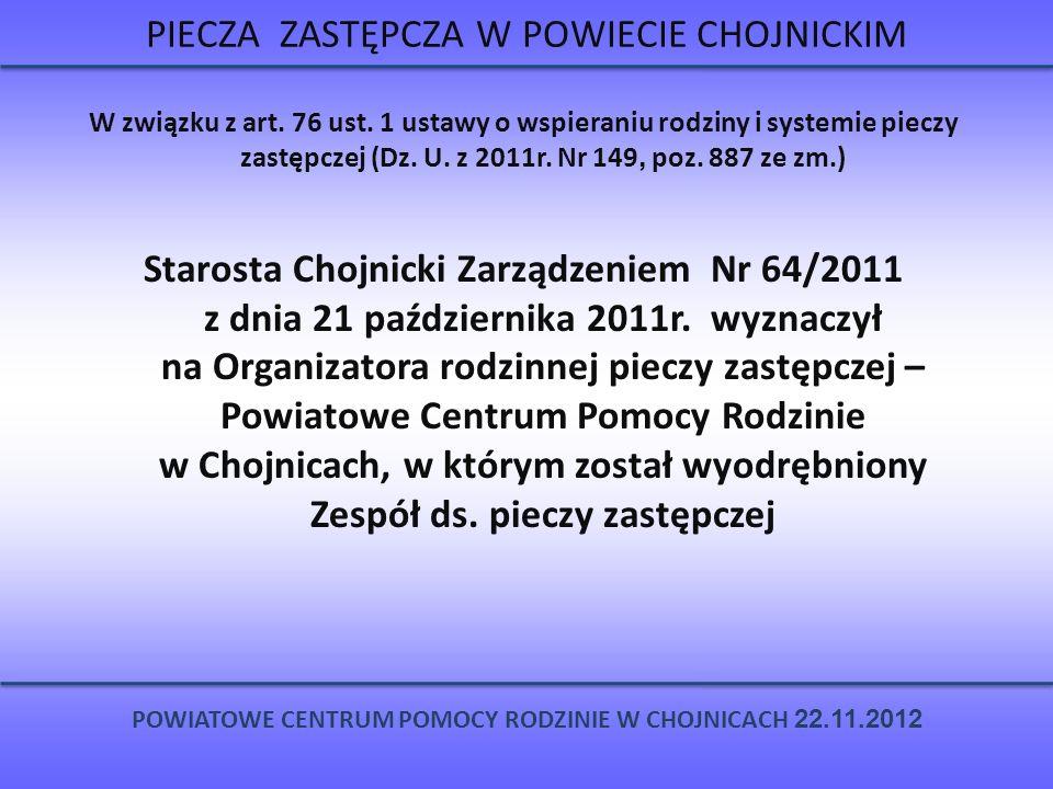 RODZINNA PIECZA ZASTĘPCZA W POWIECIE CHOJNICKIM POWIATOWE CENTRUM POMOCY RODZINIE W CHOJNICACH 22.11.2012 RODZINNE FORMY PIECZY ZASTĘPCZEJ 138 RODZIN – 231 DZIECI RODZINY SPOKREWNIONE 60 RODZIN 78 DZIECI RODZINY NIEZAWODOWE 61 RODZIN 85 DZIECI ZAWODOWE FORMY PIECZY ZASTĘPCZEJ 17 RODZIN 68 DZIECI