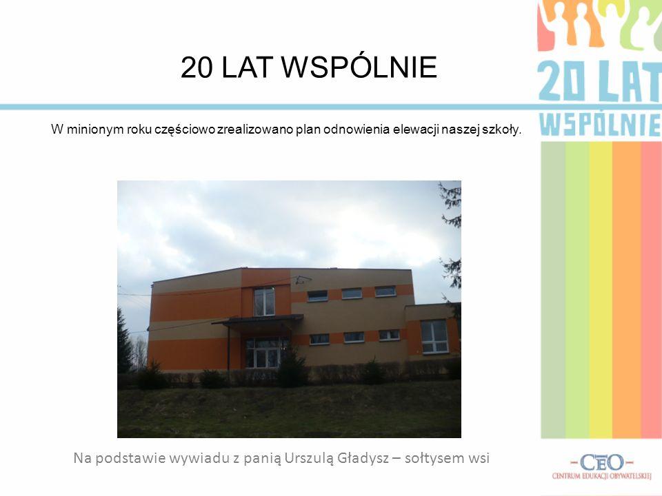 20 LAT WSPÓLNIE W minionym roku częściowo zrealizowano plan odnowienia elewacji naszej szkoły. Na podstawie wywiadu z panią Urszulą Gładysz – sołtysem