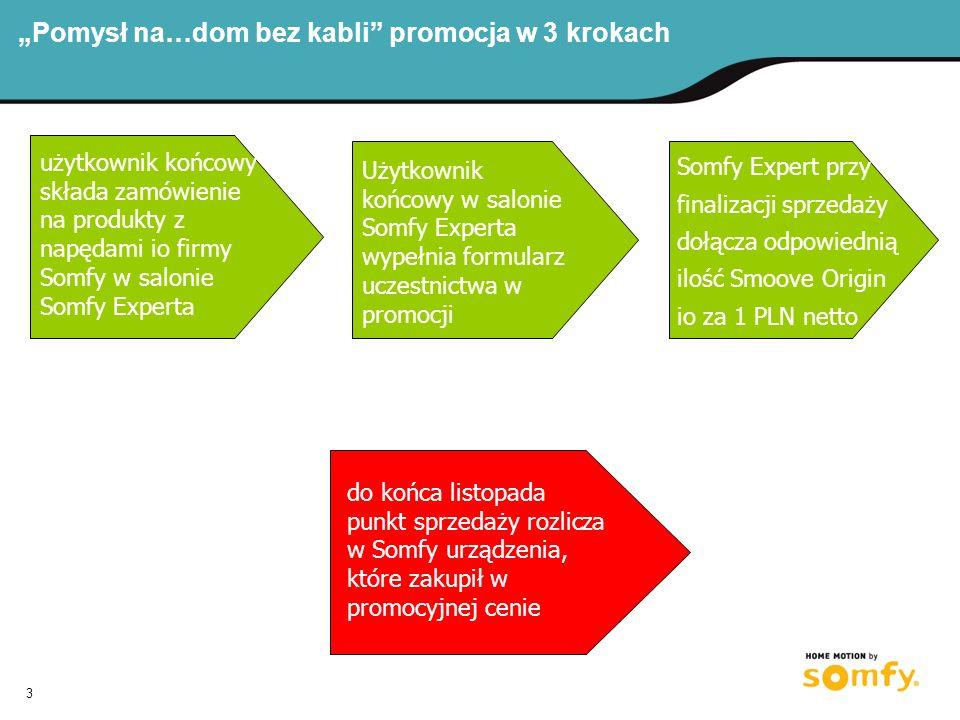 3 Pomysł na…dom bez kabli promocja w 3 krokach użytkownik końcowy składa zamówienie na produkty z napędami io firmy Somfy w salonie Somfy Experta Użytkownik końcowy w salonie Somfy Experta wypełnia formularz uczestnictwa w promocji Somfy Expert przy finalizacji sprzedaży dołącza odpowiednią ilość Smoove Origin io za 1 PLN netto składa zamówienie na wybrane produkty końcowe punkt sprzedaży zamawia w Somfy przysługujący produkt za 1 PLN do końca listopada punkt sprzedaży rozlicza w Somfy urządzenia, które zakupił w promocyjnej cenie