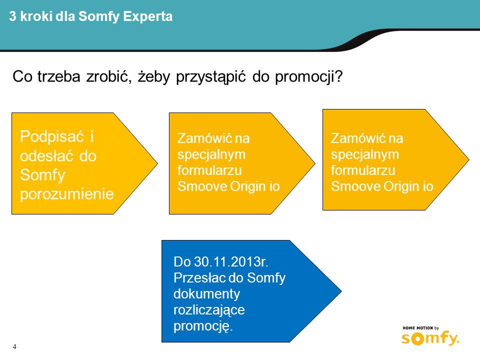3 kroki dla Somfy Experta 4 Co trzeba zrobić, żeby przystąpić do promocji.