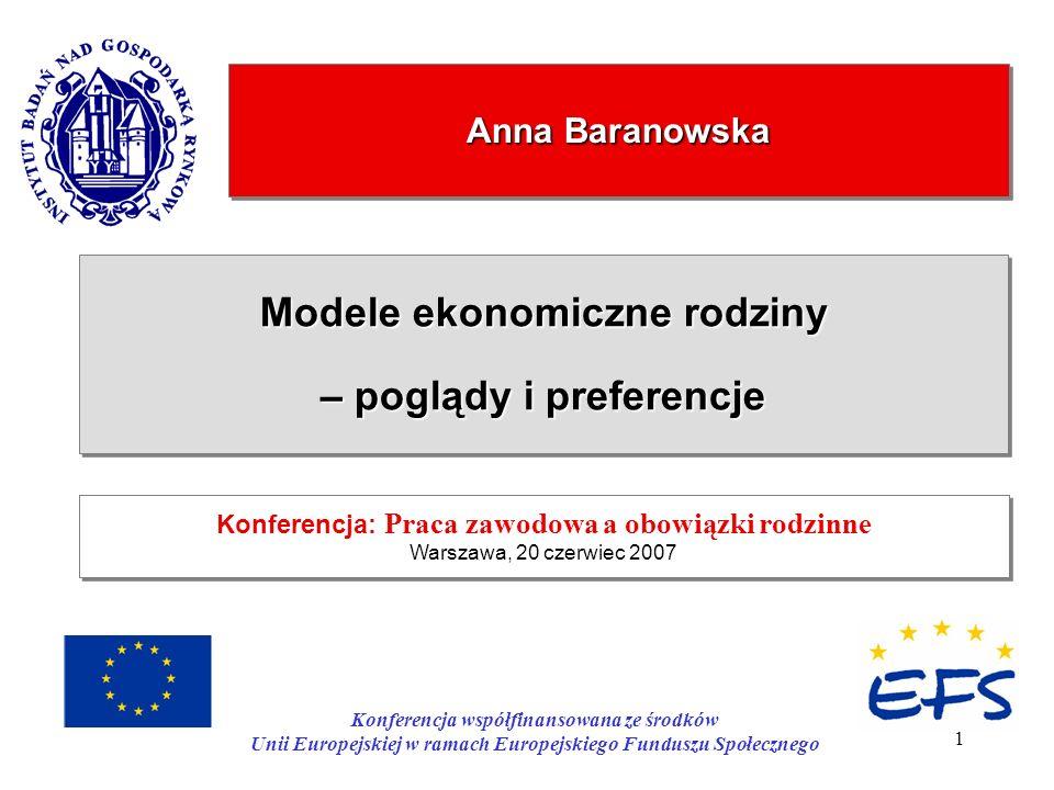1 Anna Baranowska Modele ekonomiczne rodziny – poglądy i preferencje Modele ekonomiczne rodziny – poglądy i preferencje Konferencja: Praca zawodowa a