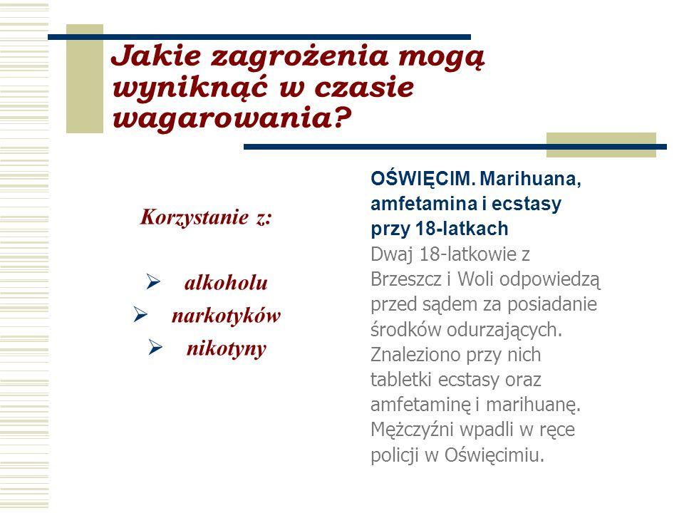 Jakie zagrożenia mogą wyniknąć w czasie wagarowania? Korzystanie z: alkoholu narkotyków nikotyny OŚWIĘCIM. Marihuana, amfetamina i ecstasy przy 18-lat
