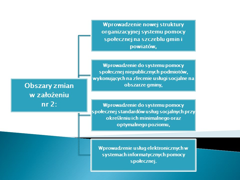 Obszary zmian w założeniu nr 2: Wprowadzenie nowej struktury organizacyjnej systemu pomocy społecznej na szczeblu gmin i powiatów, Wprowadzenie do sys