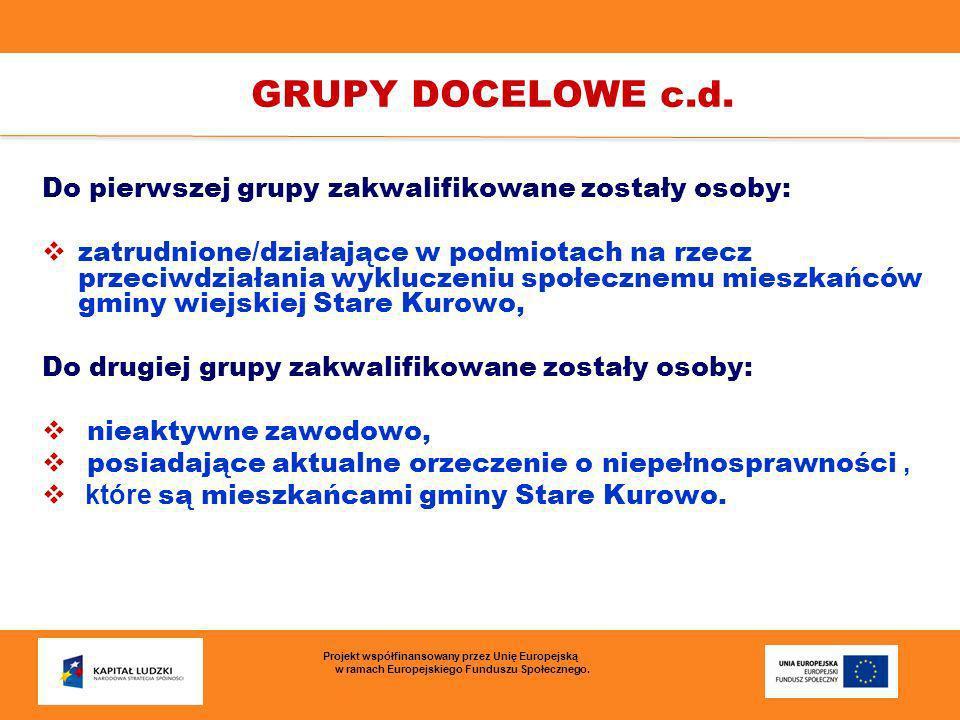Do pierwszej grupy zakwalifikowane zostały osoby: zatrudnione/działające w podmiotach na rzecz przeciwdziałania wykluczeniu społecznemu mieszkańców gm