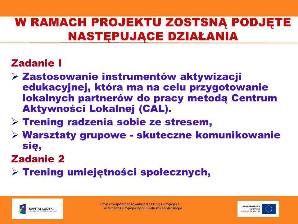 Zadanie I Zastosowanie instrumentów aktywizacji edukacyjnej, która ma na celu przygotowanie lokalnych partnerów do pracy metodą Centrum Aktywności Lok