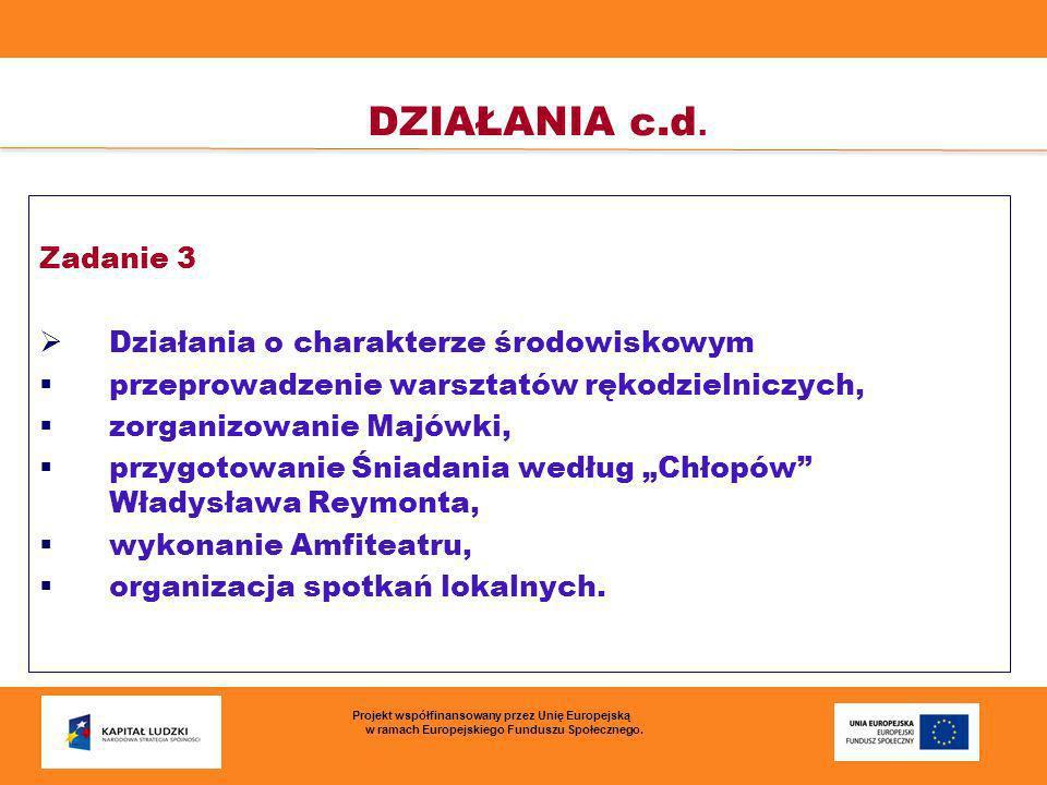 DZIAŁANIA c.d. Zadanie 3 Działania o charakterze środowiskowym przeprowadzenie warsztatów rękodzielniczych, zorganizowanie Majówki, przygotowanie Śnia