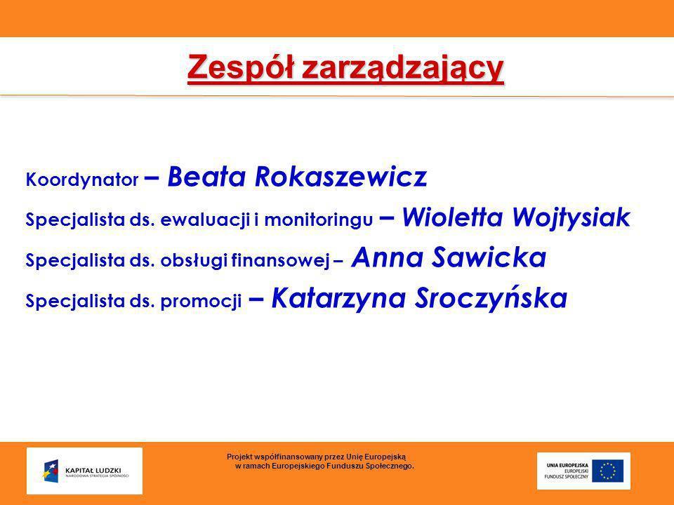 Zespół zarządzający Koordynator – Beata Rokaszewicz Specjalista ds. ewaluacji i monitoringu – Wioletta Wojtysiak Specjalista ds. obsługi finansowej –