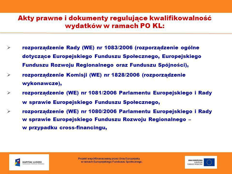 Akty prawne i dokumenty regulujące kwalifikowalność wydatków w ramach PO KL c.d: Program Operacyjny Kapitał Ludzki oraz Szczegółowy opis Priorytetu VII, Krajowe wytyczne dotyczące kwalifikowania wydatków w ramach funduszy strukturalnych i Funduszu Spójności w okresie 2007-2013 wydane przez Ministra Rozwoju Regionalnego, Wytyczne w zakresie kwalifikowalności wydatków w ramach PO KL wydane przez Ministra Rozwoju Regionalnego.