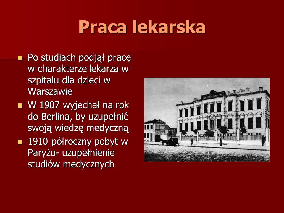 Praca lekarska Po studiach podjął pracę w charakterze lekarza w szpitalu dla dzieci w Warszawie Po studiach podjął pracę w charakterze lekarza w szpit