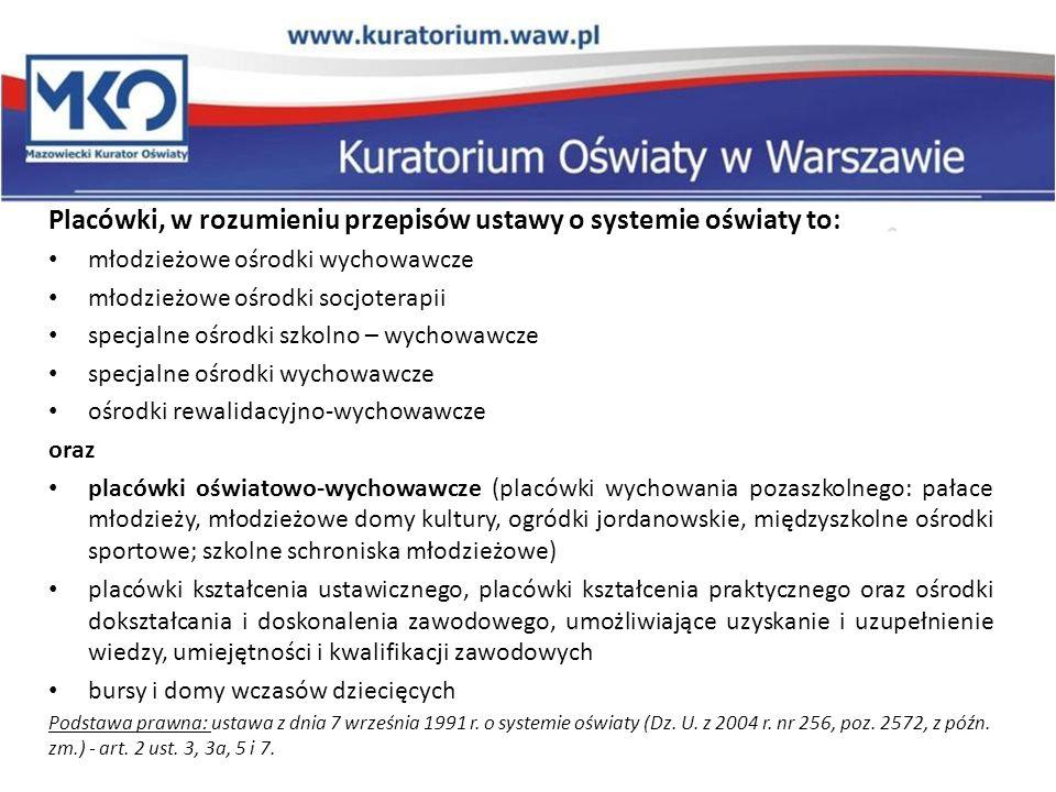 Placówki, w rozumieniu przepisów ustawy o systemie oświaty to: młodzieżowe ośrodki wychowawcze młodzieżowe ośrodki socjoterapii specjalne ośrodki szko