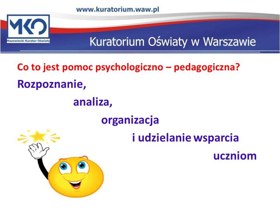 Pomoc psychologiczno-pedagogiczna udzielana uczniowi w przedszkolu, szkole i placówce polega na: rozpoznawaniu indywidualnych potrzeb rozwojowych i edukacyjnych ucznia zaspokajaniu indywidualnych potrzeb rozwojowych i edukacyjnych ucznia rozpoznawaniu indywidualnych możliwości psychofizycznych ucznia Ważne: Pomocy psychologiczno – pedagogicznej udziela się we współpracy z rodzicami ucznia.