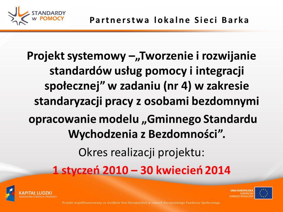 Partnerstwa lokalne Sieci Barka Projekt systemowy –Tworzenie i rozwijanie standardów usług pomocy i integracji społecznej w zadaniu (nr 4) w zakresie