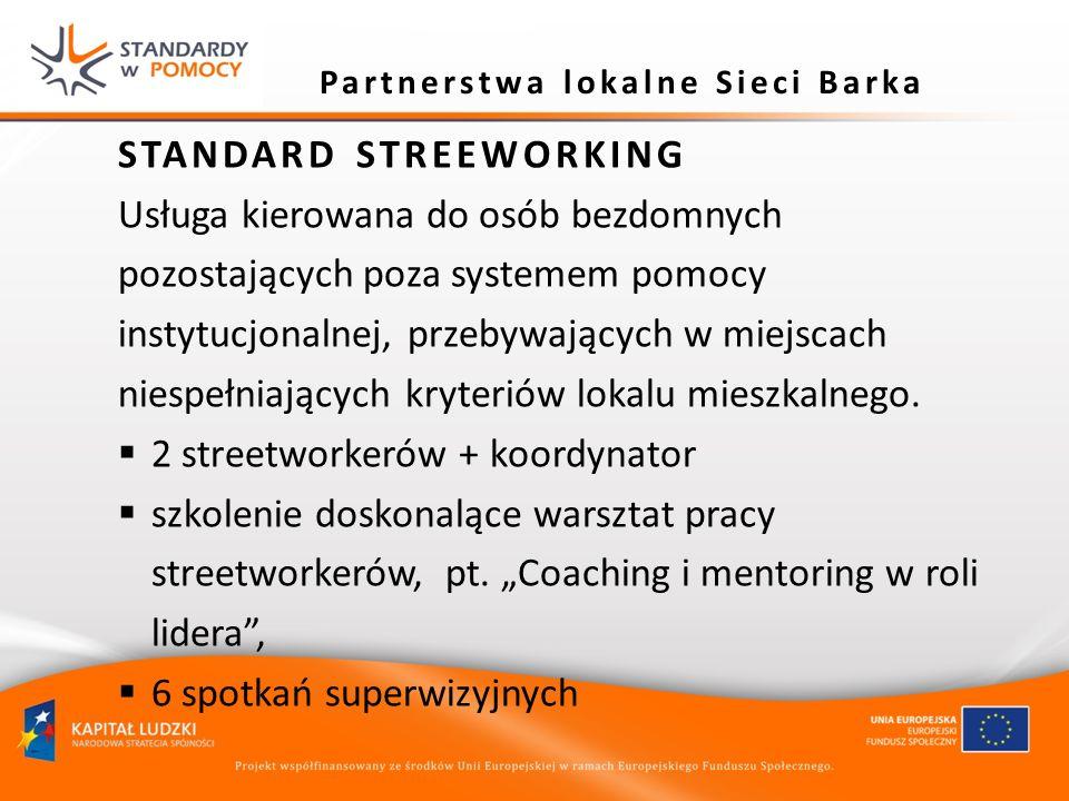 Partnerstwa lokalne Sieci Barka STANDARD STREEWORKING Usługa kierowana do osób bezdomnych pozostających poza systemem pomocy instytucjonalnej, przebyw