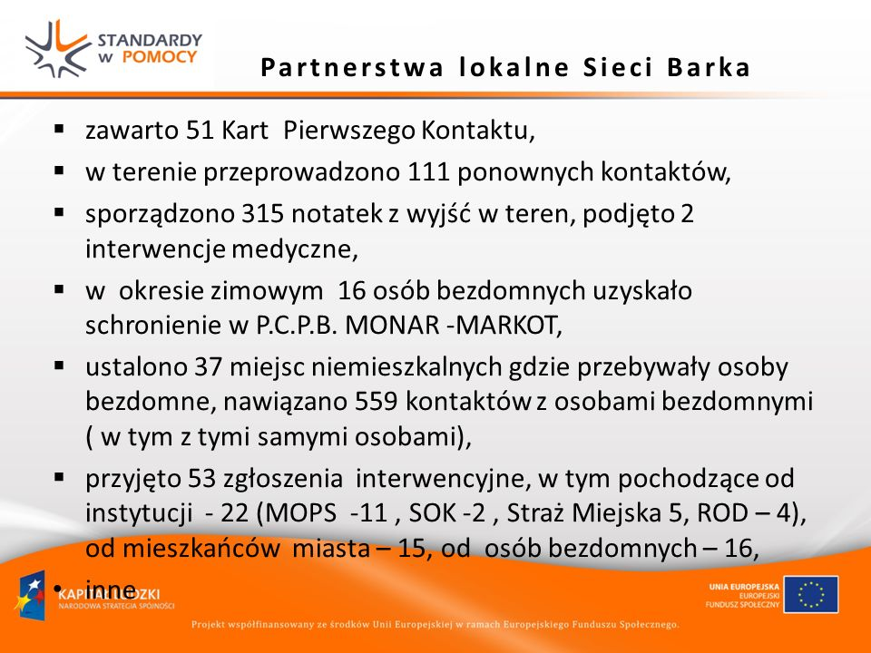 Partnerstwa lokalne Sieci Barka zawarto 51 Kart Pierwszego Kontaktu, w terenie przeprowadzono 111 ponownych kontaktów, sporządzono 315 notatek z wyjść
