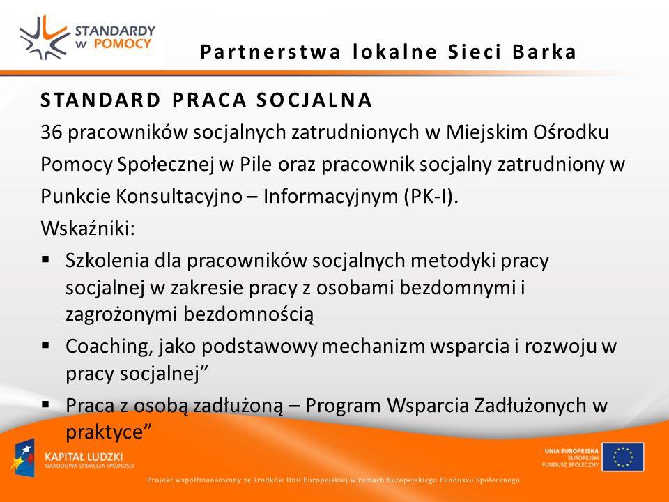 STANDARD PRACA SOCJALNA 36 pracowników socjalnych zatrudnionych w Miejskim Ośrodku Pomocy Społecznej w Pile oraz pracownik socjalny zatrudniony w Punk