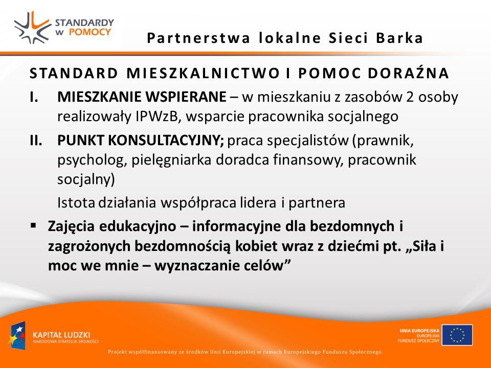Partnerstwa lokalne Sieci Barka STANDARD MIESZKALNICTWO I POMOC DORAŹNA I.MIESZKANIE WSPIERANE – w mieszkaniu z zasobów 2 osoby realizowały IPWzB, wsp