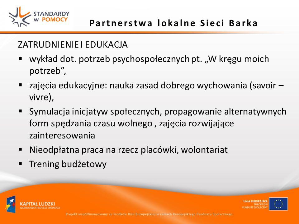 Partnerstwa lokalne Sieci Barka ZATRUDNIENIE I EDUKACJA wykład dot. potrzeb psychospołecznych pt. W kręgu moich potrzeb, zajęcia edukacyjne: nauka zas
