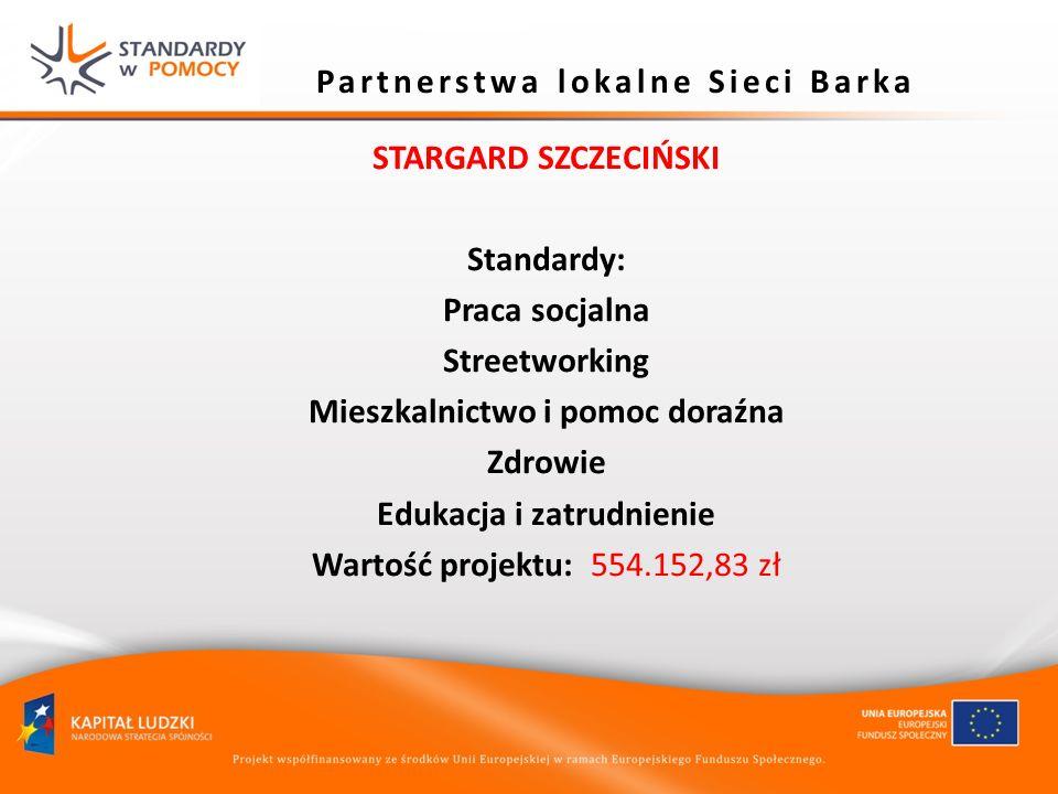 Partnerstwa lokalne Sieci Barka STARGARD SZCZECIŃSKI Standardy: Praca socjalna Streetworking Mieszkalnictwo i pomoc doraźna Zdrowie Edukacja i zatrudn
