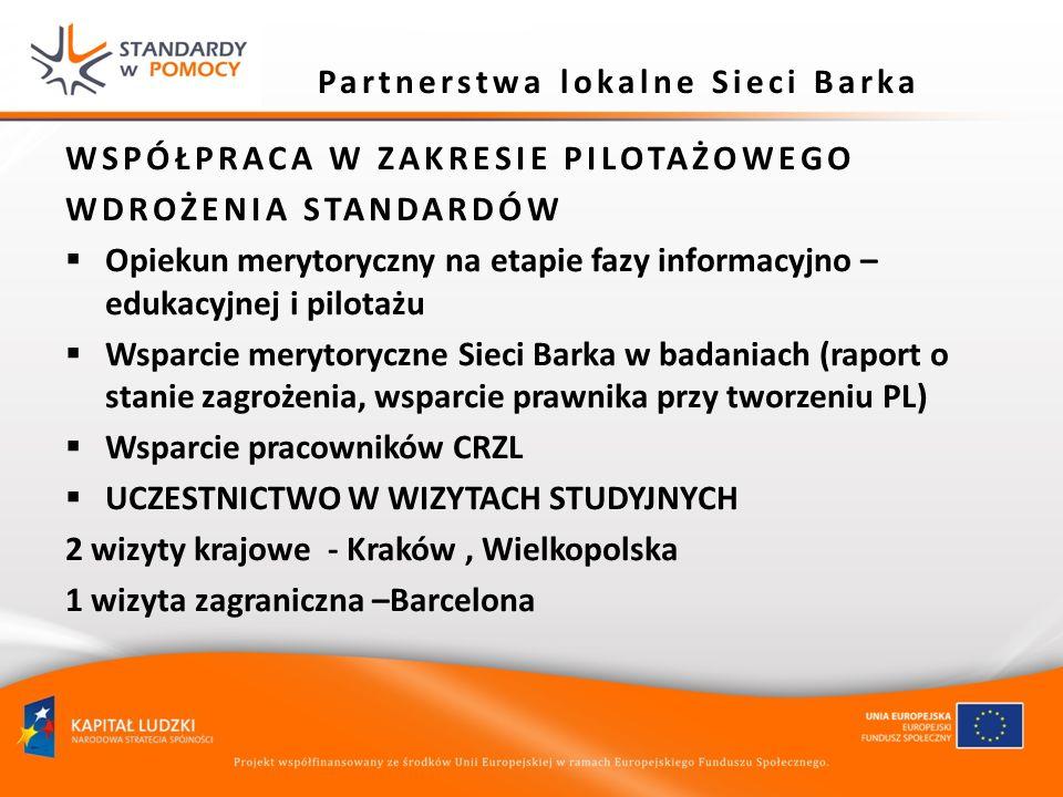 Partnerstwa lokalne Sieci Barka WSPÓŁPRACA W ZAKRESIE PILOTAŻOWEGO WDROŻENIA STANDARDÓW Opiekun merytoryczny na etapie fazy informacyjno – edukacyjnej