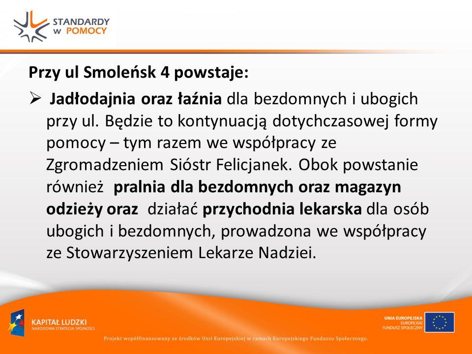 Przy ul Smoleńsk 4 powstaje: Jadłodajnia oraz łaźnia dla bezdomnych i ubogich przy ul. Będzie to kontynuacją dotychczasowej formy pomocy – tym razem w