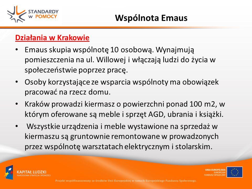 Wspólnota Emaus Działania w Krakowie Emaus skupia wspólnotę 10 osobową. Wynajmują pomieszczenia na ul. Willowej i włączają ludzi do życia w społeczeńs
