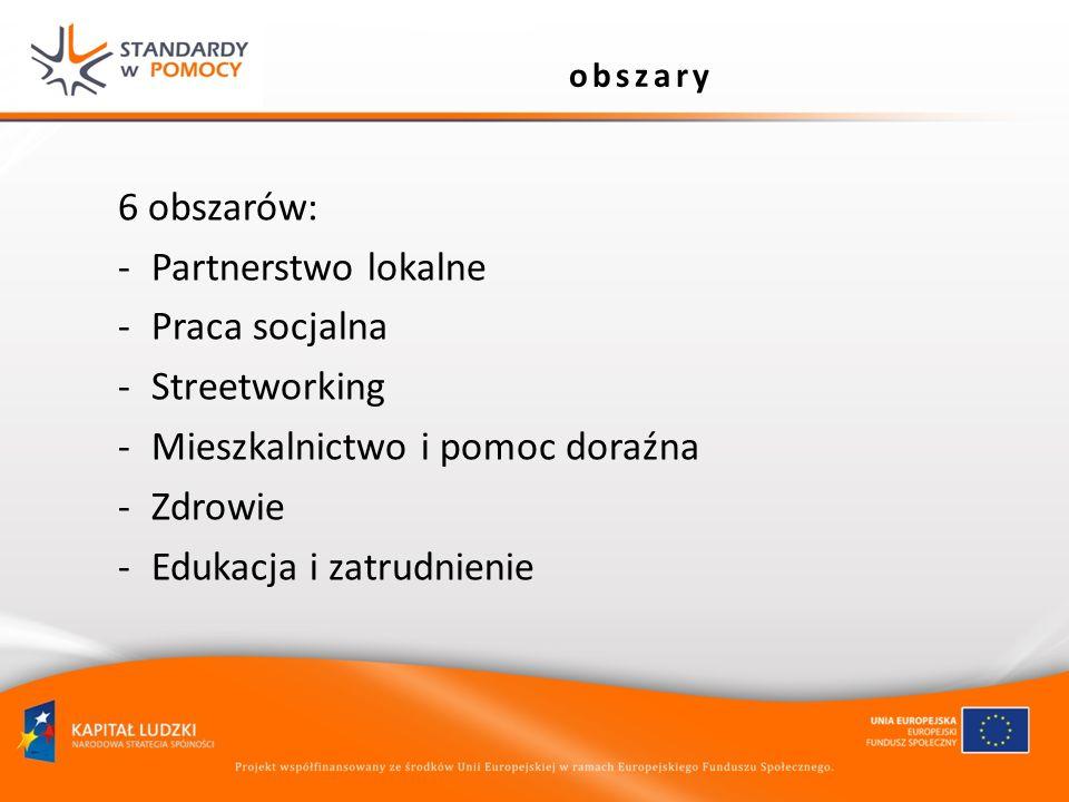 obszary 6 obszarów: -Partnerstwo lokalne -Praca socjalna -Streetworking -Mieszkalnictwo i pomoc doraźna -Zdrowie -Edukacja i zatrudnienie
