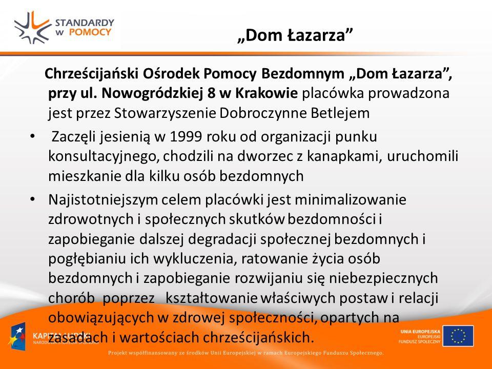 Dom Łazarza Chrześcijański Ośrodek Pomocy Bezdomnym Dom Łazarza, przy ul. Nowogródzkiej 8 w Krakowie placówka prowadzona jest przez Stowarzyszenie Dob