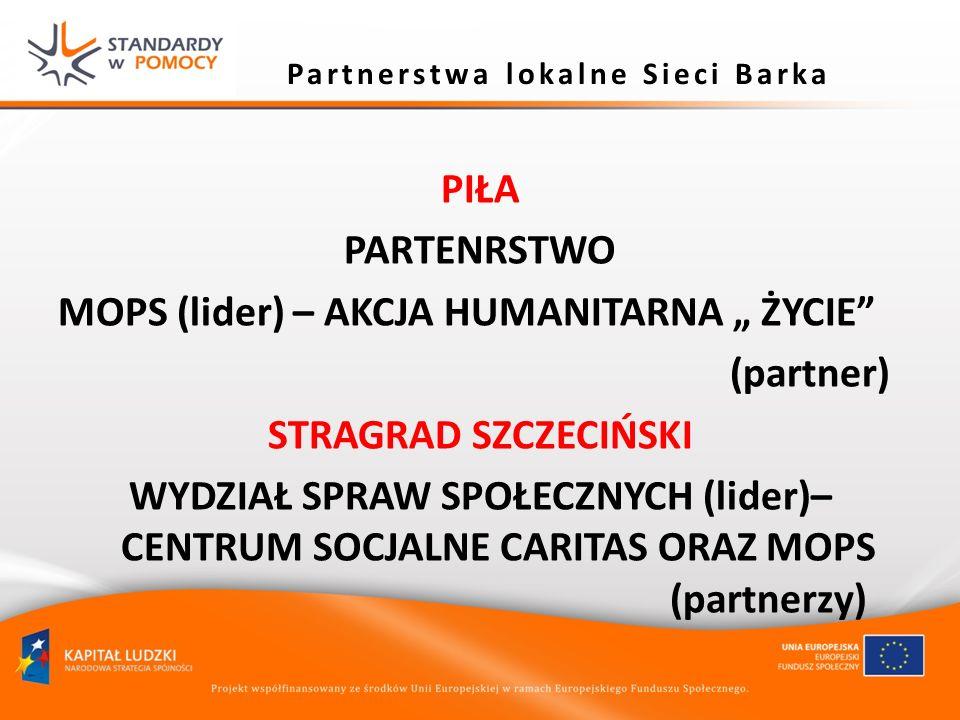 Partnerstwa lokalne Sieci Barka PIŁA PARTENRSTWO MOPS (lider) – AKCJA HUMANITARNA ŻYCIE (partner) STRAGRAD SZCZECIŃSKI WYDZIAŁ SPRAW SPOŁECZNYCH (lide