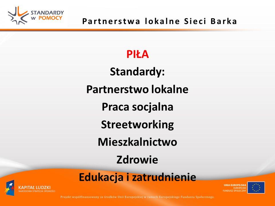 Partnerstwa lokalne Sieci Barka PIŁA Standardy: Partnerstwo lokalne Praca socjalna Streetworking Mieszkalnictwo Zdrowie Edukacja i zatrudnienie