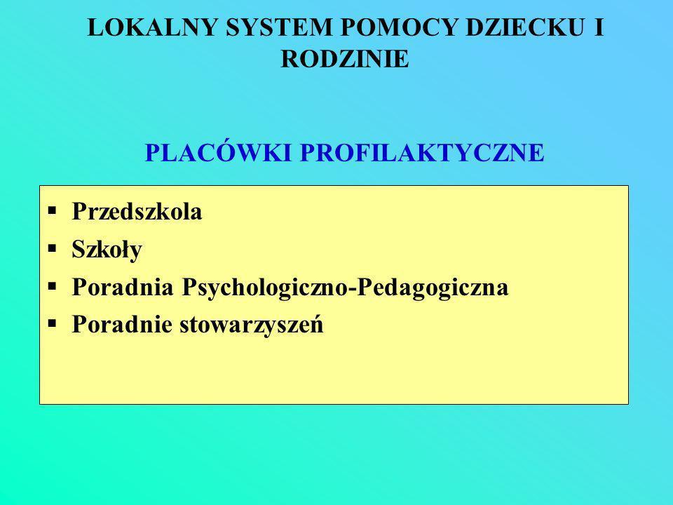 LOKALNY SYSTEM POMOCY DZIECKU I RODZINIE PLACÓWKI PROFILAKTYCZNE Przedszkola Szkoły Poradnia Psychologiczno-Pedagogiczna Poradnie stowarzyszeń