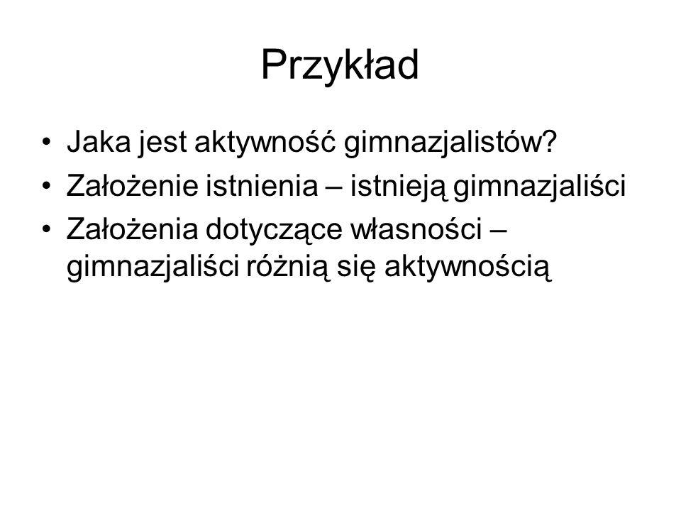 Przykład Jaka jest aktywność gimnazjalistów.
