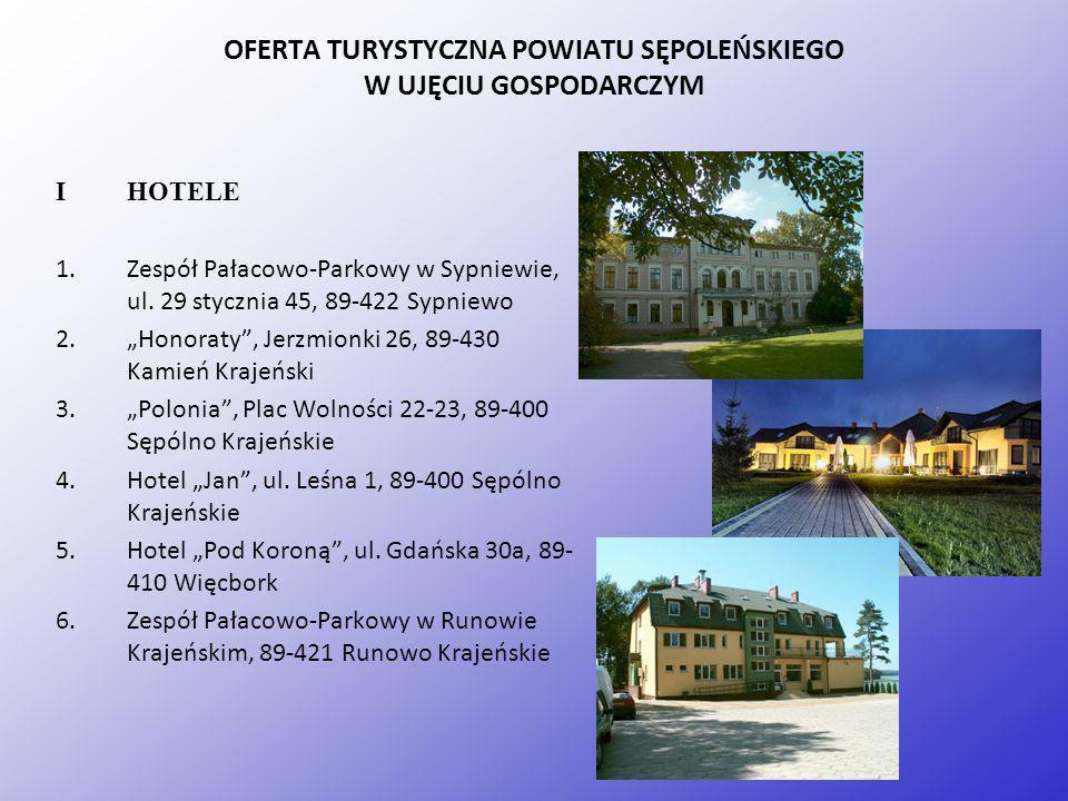 OFERTA TURYSTYCZNA POWIATU SĘPOLEŃSKIEGO W UJĘCIU GOSPODARCZYM I HOTELE 1.Zespół Pałacowo-Parkowy w Sypniewie, ul. 29 stycznia 45, 89-422 Sypniewo 2.H