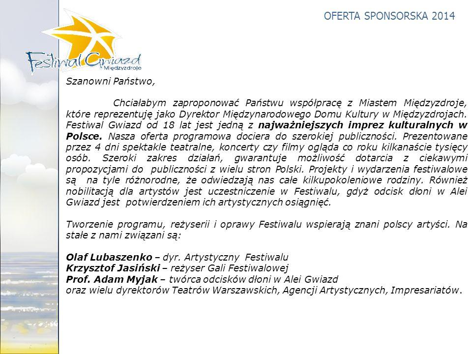 OFERTA SPONSORSKA 2014 Szanowni Państwo, Chciałabym zaproponować Państwu współpracę z Miastem Międzyzdroje, które reprezentuję jako Dyrektor Międzynar