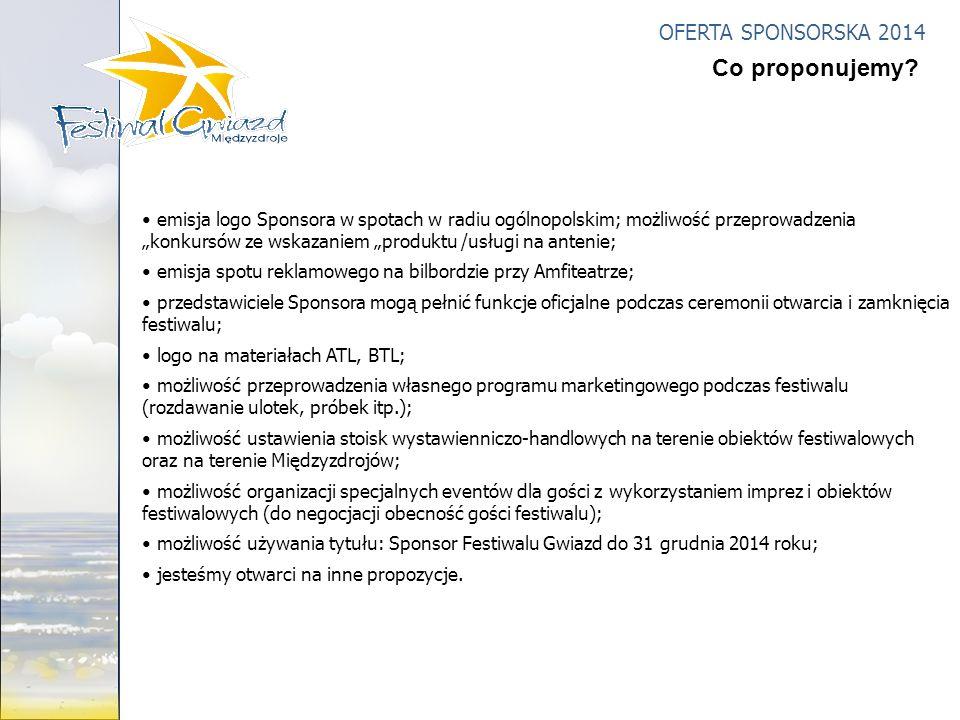 OFERTA SPONSORSKA 2014 emisja logo Sponsora w spotach w radiu ogólnopolskim; możliwość przeprowadzenia konkursów ze wskazaniem produktu /usługi na ant
