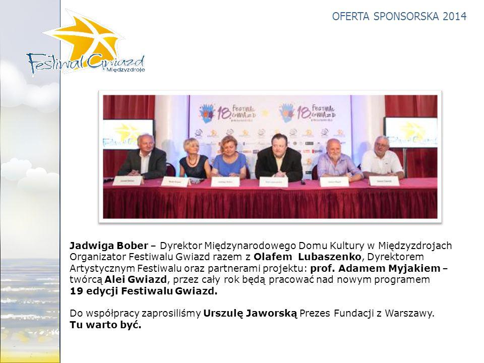 OFERTA SPONSORSKA 2014 Jadwiga Bober – Dyrektor Międzynarodowego Domu Kultury w Międzyzdrojach Organizator Festiwalu Gwiazd razem z Olafem Lubaszenko,
