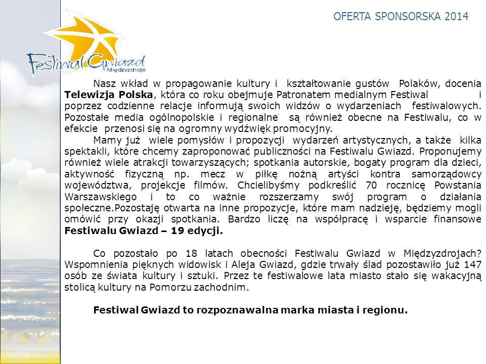 OFERTA SPONSORSKA 2014 Nasz wkład w propagowanie kultury i kształtowanie gustów Polaków, docenia Telewizja Polska, która co roku obejmuje Patronatem m