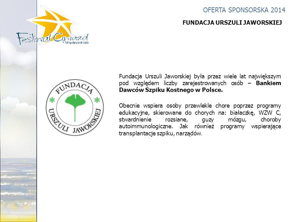 OFERTA SPONSORSKA 2014 Fundacja Urszuli Jaworskiej była przez wiele lat największym pod względem liczby zarejestrowanych osób – Bankiem Dawców Szpiku