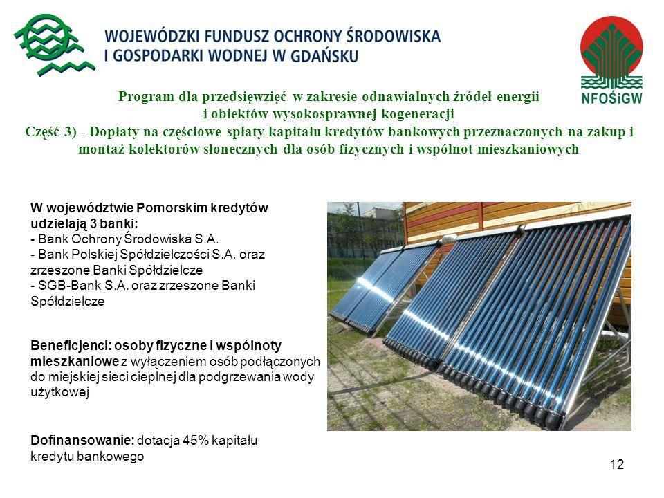12 Program dla przedsięwzięć w zakresie odnawialnych źródeł energii i obiektów wysokosprawnej kogeneracji Część 3) - Dopłaty na częściowe spłaty kapit