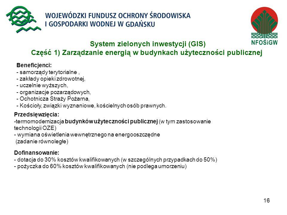 16 System zielonych inwestycji (GIS) Część 1) Zarządzanie energią w budynkach użyteczności publicznej Beneficjenci: - samorządy terytorialne, - zakład