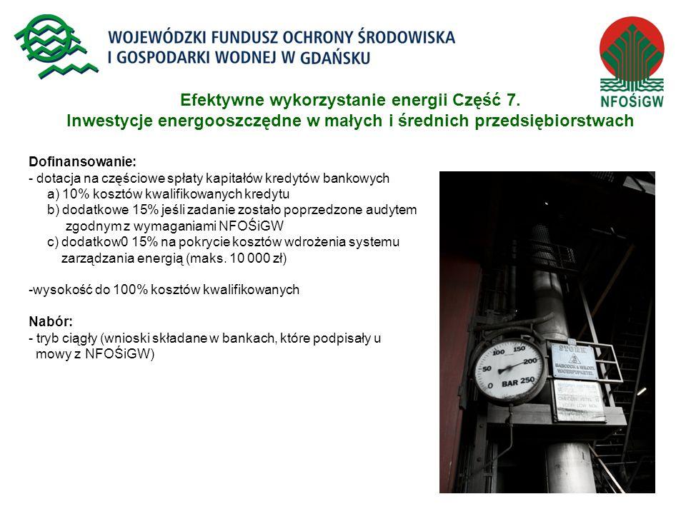 18 Efektywne wykorzystanie energii Część 7. Inwestycje energooszczędne w małych i średnich przedsiębiorstwach Dofinansowanie: - dotacja na częściowe s