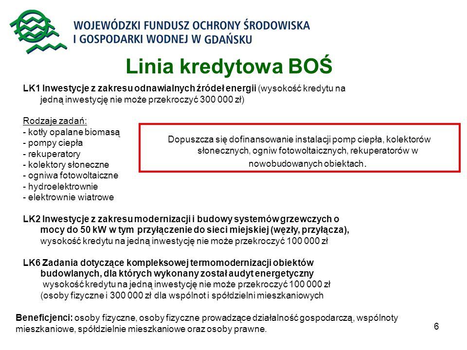 6 LK1 Inwestycje z zakresu odnawialnych źródeł energii (wysokość kredytu na jedną inwestycję nie może przekroczyć 300 000 zł) Rodzaje zadań: - kotły o