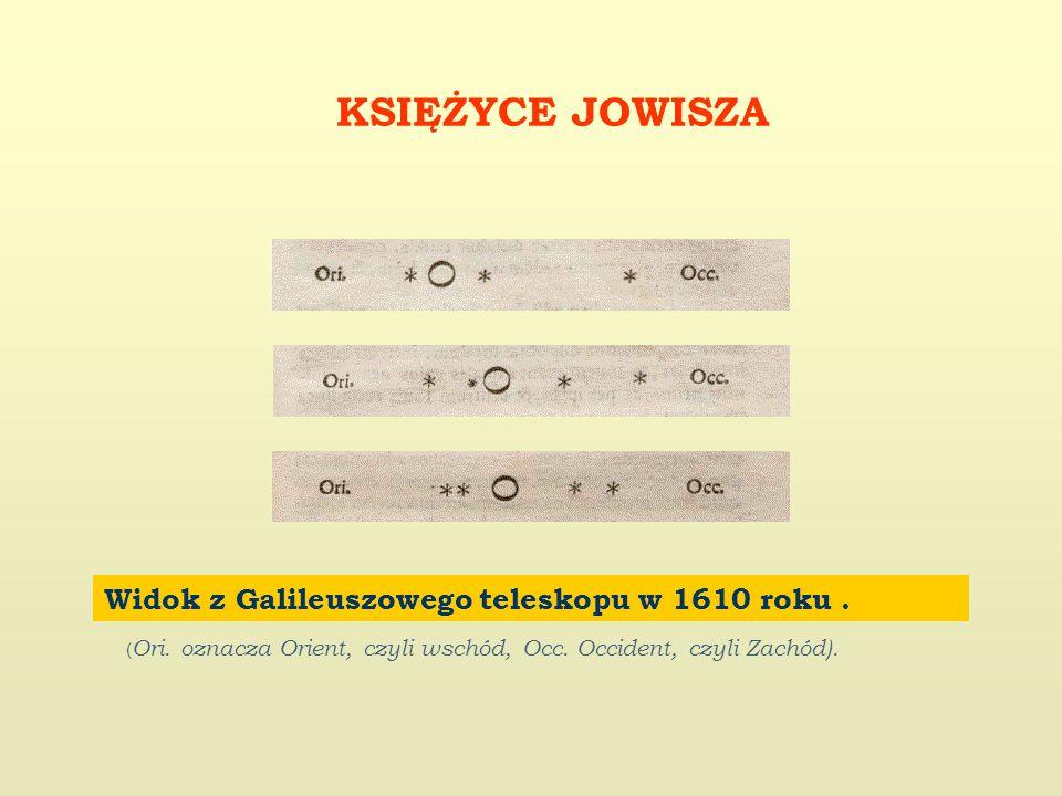 KSIĘŻYCE JOWISZA Widok z Galileuszowego teleskopu w 1610 roku.