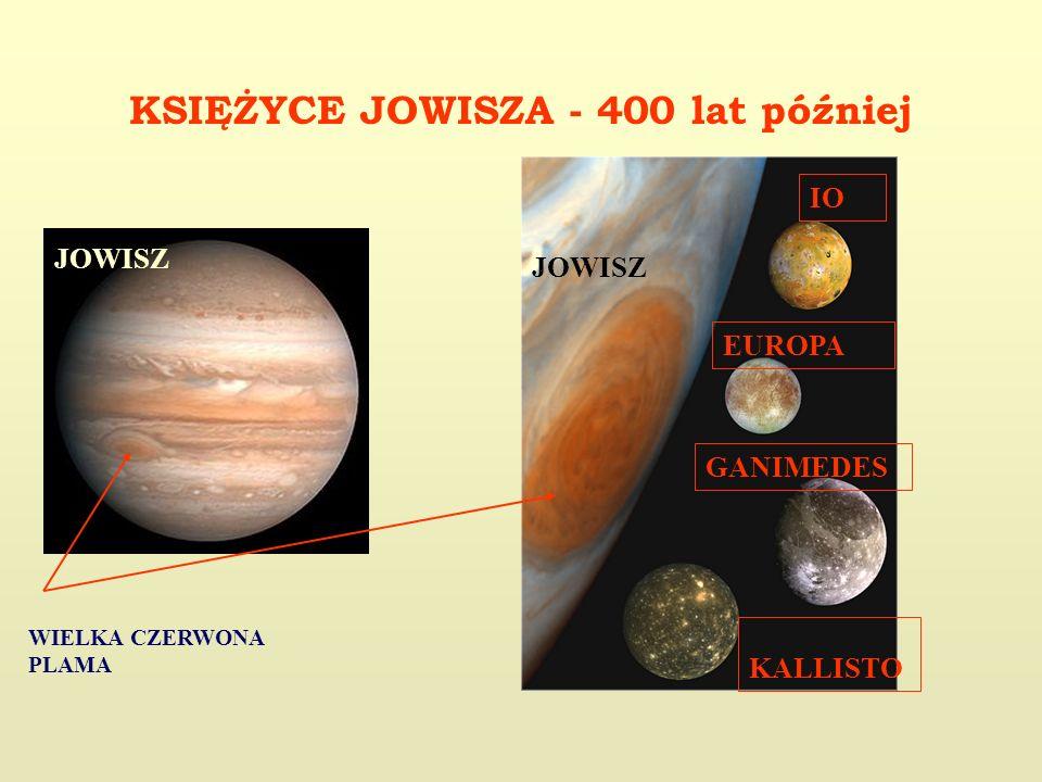 KSIĘŻYCE JOWISZA - 400 lat później JOWISZ IO KALLISTO GANIMEDES EUROPA JOWISZ WIELKA CZERWONA PLAMA