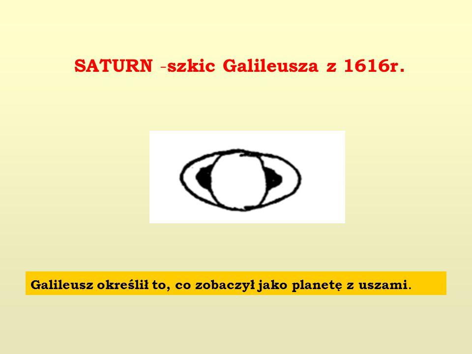 SATURN - szkic Galileusza z 1616r. Galileusz określił to, co zobaczył jako planetę z uszami.