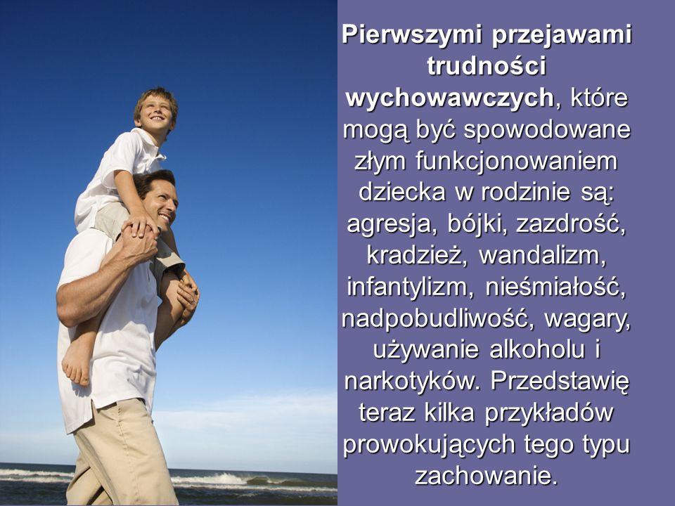 Pierwszymi przejawami trudności wychowawczych, które mogą być spowodowane złym funkcjonowaniem dziecka w rodzinie są: agresja, bójki, zazdrość, kradzi