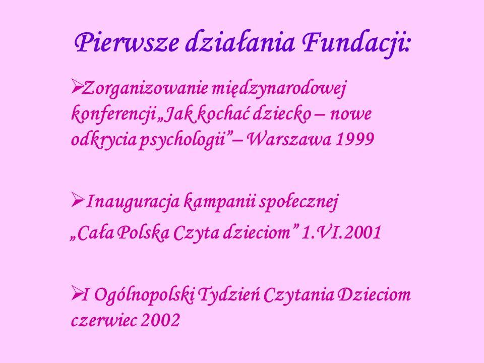 Pierwsze działania Fundacji: Zorganizowanie międzynarodowej konferencji Jak kochać dziecko – nowe odkrycia psychologii– Warszawa 1999 Inauguracja kamp