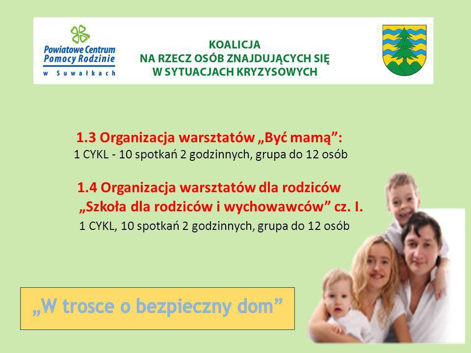 1.3 Organizacja warsztatów Być mamą: 1 CYKL - 10 spotkań 2 godzinnych, grupa do 12 osób 1.4 Organizacja warsztatów dla rodziców Szkoła dla rodziców i wychowawców cz.