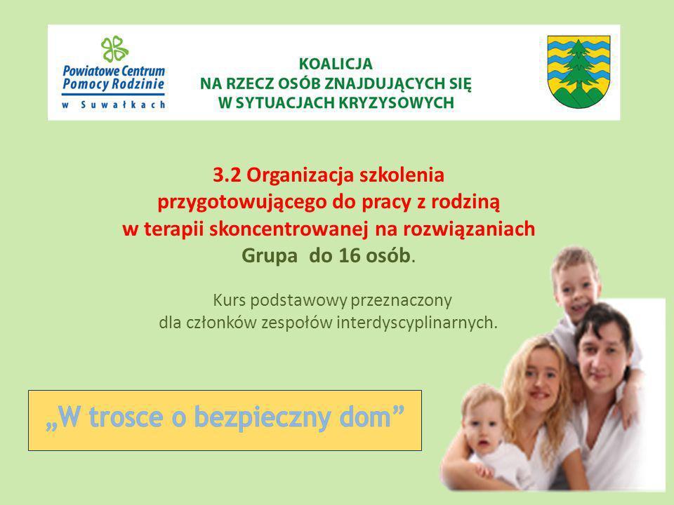 3.2 Organizacja szkolenia przygotowującego do pracy z rodziną w terapii skoncentrowanej na rozwiązaniach Grupa do 16 osób.