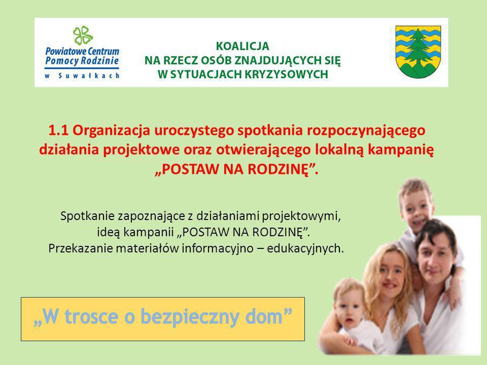 1.1 Organizacja uroczystego spotkania rozpoczynającego działania projektowe oraz otwierającego lokalną kampanię POSTAW NA RODZINĘ.