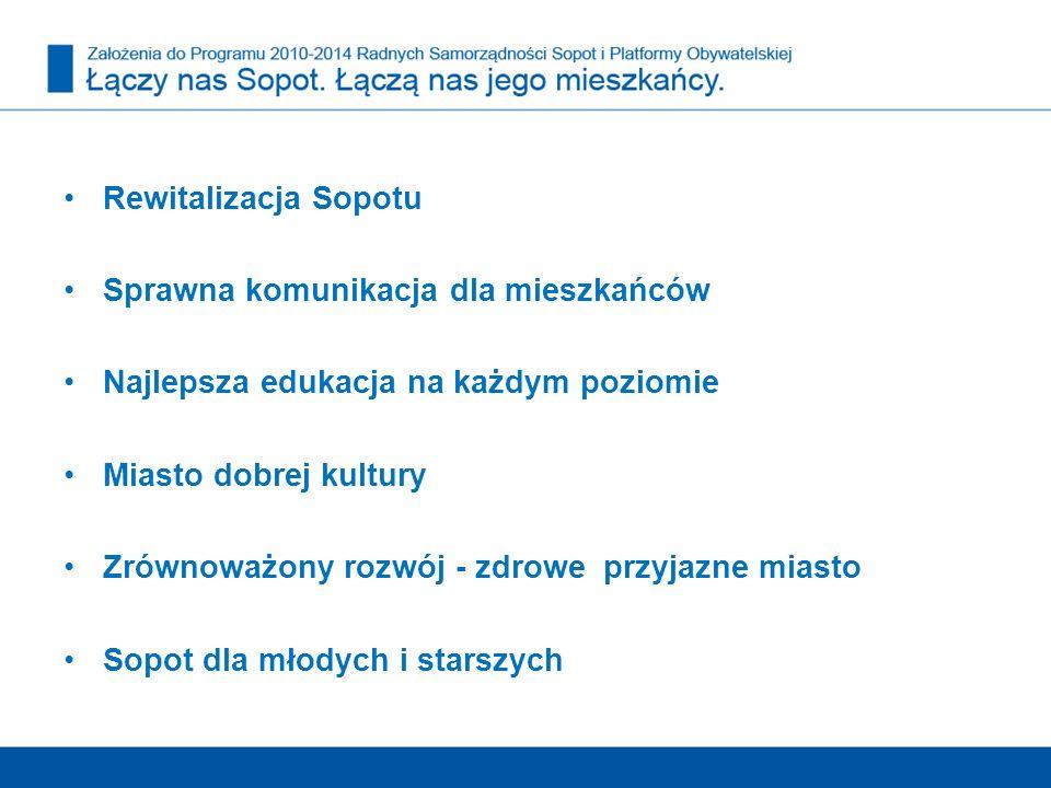 Rewitalizacja Sopotu Sprawna komunikacja dla mieszkańców Najlepsza edukacja na każdym poziomie Miasto dobrej kultury Zrównoważony rozwój - zdrowe przy